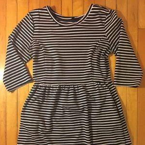 3/4 Sleeve Length Striped Dress